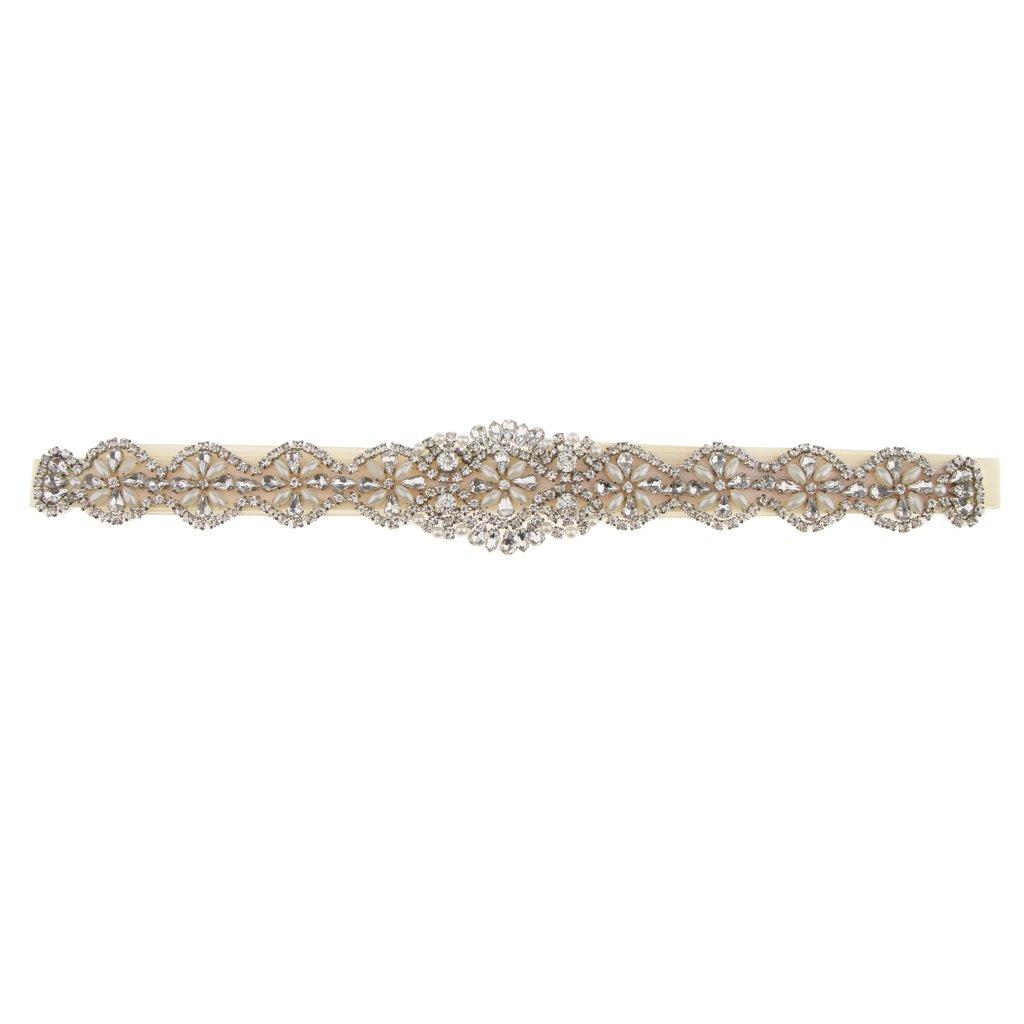 Sharplace Antiguo Cinturón de Lazo con Perlas Flor Artificial Vestido de Novia Decoración de Casamiento - Marfil, 41 x 5 cm