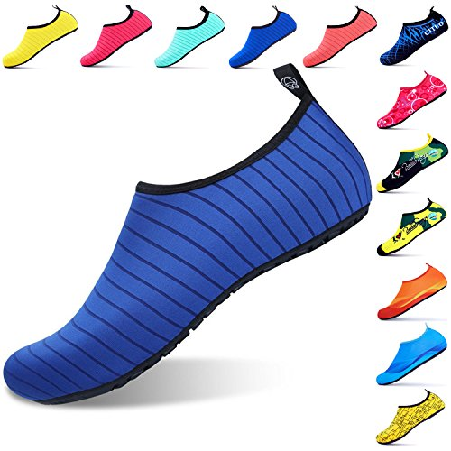 Giotto Sports Water Shoes Swim Yoga Beach Aqua Calcetines Para Mujeres Hombres Raya / Azul