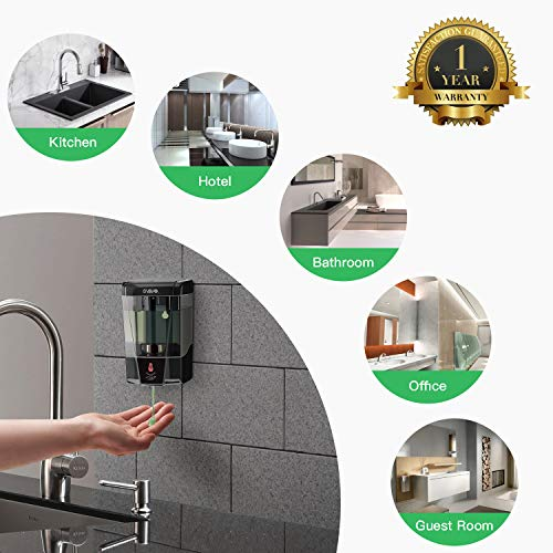 SVAVO Hand Free Soap Dispenser Electric Automatic Soap Dispenser Touchless Wall Mounted for Bathroom 600ml Black