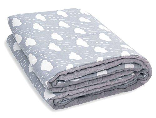 MamaMond Babydecke / Kuscheldecke - zweiseitig Baumwolle & weiches Minky, ganzjährig für Mädchen und Jungen, 70x100cm, grau mit Wolken