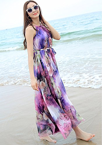 615e2edca69 MedeShe Women s Chiffon Floral Holiday Beach Bridesmaid Maxi Dress Sundress  ( Medium