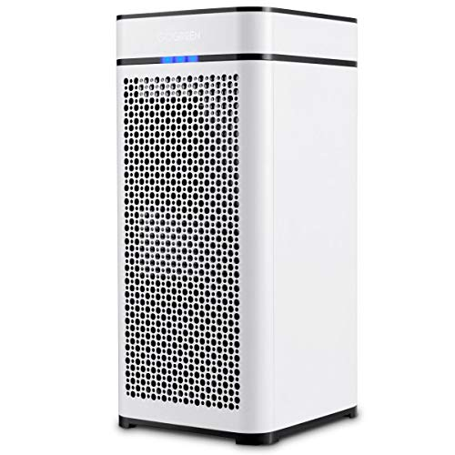 COSTWAY Air Cleaner with 2 True Filter Activated Carbon Filter Auto Air Quality Monitor Up to 430 Sq ft Coverage Air Cleaner for Large Room, Eliminates Dust Purifier