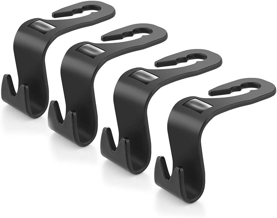 Shopping Bag HITECHLIFE 4pcs Car Hook Hanger Headrest Hook Holder Rear Seat Storage Hook Wallet Clothes Black