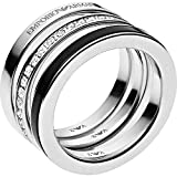 Emporio Armani Sterling Silver Set of 3 Stackable Rings EG3182, Size 9 $150