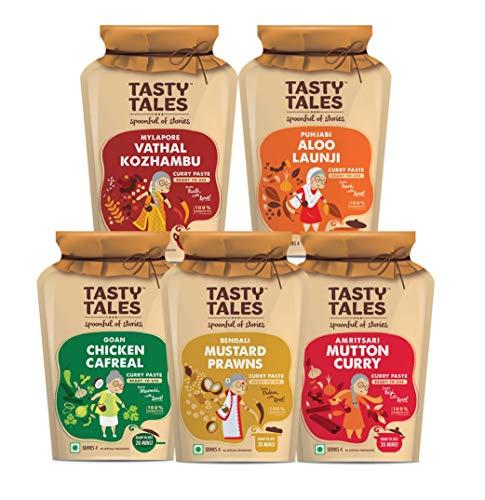 Tasty Tales Mylapore Vathal Kozhambu, Punjabi Aloo Launji, Amritsari Mutton Curry, Goan Chicken Cafreal and Mustard Prawns Curry Paste, 5 X 130 g (B07RBF8H53) Amazon Price History, Amazon Price Tracker