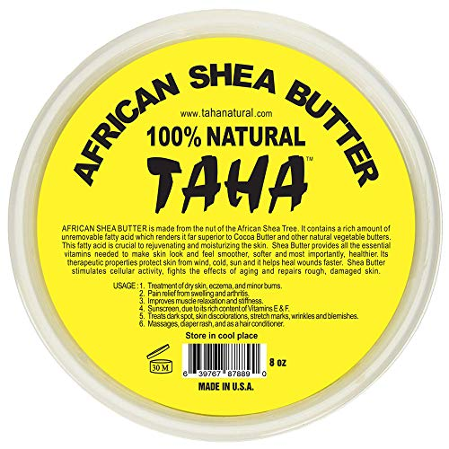 Taha African Shea Butter Cream - 100% Pure, Organic, Unrefined, and Raw, Yellow - For Skin and Stretchmarks - 8oz