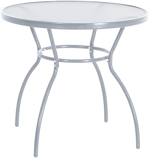greemotion Table de jardin ronde Prag – Table ronde diamètre 80 cm – Table  verre et métal grise – Petite table ronde de jardin – Table salon de jardin  ...