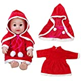 Choosebuy❤️ Xmas Gift! 20inch/50cm Reborn Baby Boy Girl Doll Christmas Cotton Clothes Outfits Set (Dress + Cloak) (Red)