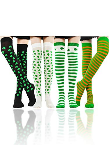 (Boao Over Knee Socks Striped Stockings Thigh High Socks for St. Patrick's Day Party Supplies, 4 Pairs Totally (Color Set 2))