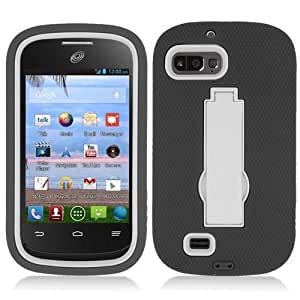 Artisan 3-in-1 for ZTE Valet Z665C (Straight Talk / Net 10 / TracFone) - Black & White Hybrid Duo Shield Tough Armor Case with Stand and SureGrip Skin Cover + Crystal Clear Screen Protector + MyDroid Transparent/Clear Decal