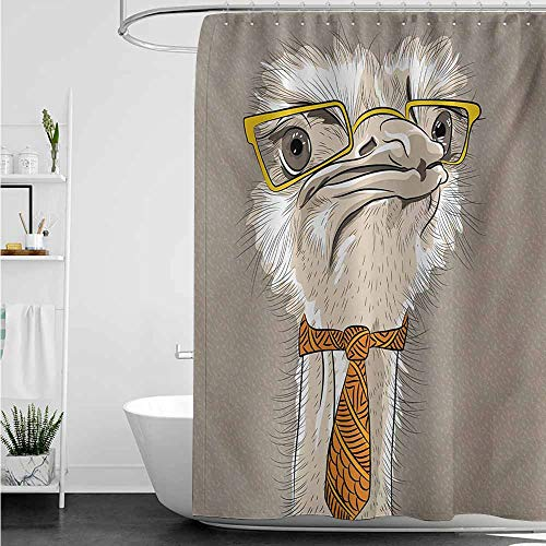 - home1love Shower stall Curtains,Indie Sketch Portrait of Funny Modern Ostrich Bird with Yellow Eyeglasses and Tie,Waterproof Colorful Funny,W60x72L,Taupe Beige Yellow