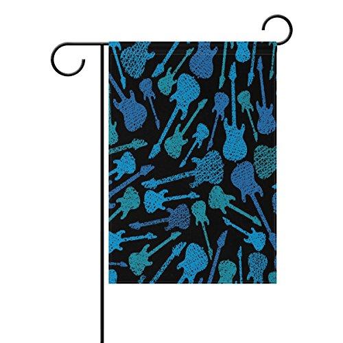 "LEISISI Blue Guitar Garden flag 12""X18"" Two Sided Yard Decor"