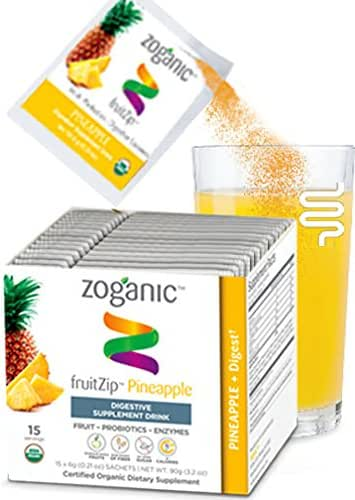 Organic Herbal Supplement Drink Mix - Digestive support, Probiotic and Fruit Enzymes, Pure Ginger and Papaya Fruit Extract Pineapple Flavor-15 packets