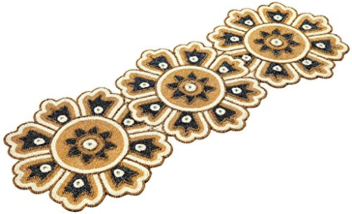 Beaded Table Runner 13x36 - circle design gold charcoal white