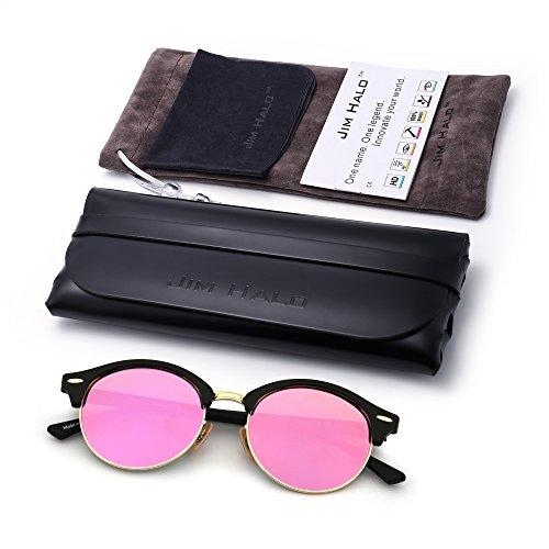 Marco Para Espejo Negro de Rosa Sin Hombre Mujer Redondas Gafas Retro Browline Mate Polarizadas Sol Semi 46zAcIW