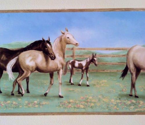 Horse Farm Field Wallpaper Wall Border- Light ()
