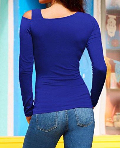 Femmes Blouse Shirts Manches Hauts Bleu Automne et T Printemps Chemisiers Longues Tee paule Jumpers Slim OUFour Tops Chic Oblique TqwfAtt