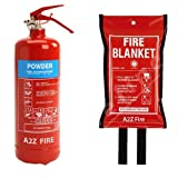 A2Z Fire 2kg Powder Fire Extinguisher & Fire Blanket for home. Perfect for home fire safety, kitchens, caravans, cars & boats. Comes with full 5 year warranty & UK manufactured