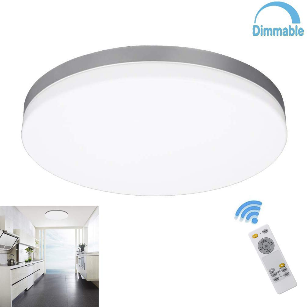 W-LITE 24W Modern Dimmable Led Flushmount Ceiling Light Fixture with Remote-13 Inch Round Close to Ceiling Lights for Bedroom/Kitchen/Dining Room Lighting, 3000K-6000K 3 Light Color Changeable