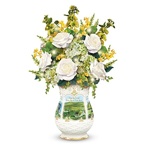 (Blessings of Ireland Floral Centerpiece with Edmund Sullivan Artwork Lights Up by The Bradford Exchange)