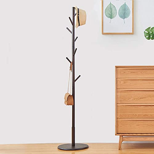 WALTSOM Coat Racks Free Standing, Wooden Coat Hat Tree with 8 Hooks and Solid Round Base, Hallway Entryway Coat Hanger Hook Stand for Clothes, Scarves, Handbags, NO Tools Required Dark Brown