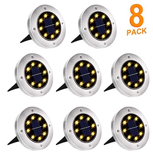 Solar Ground Lights, 8 LED Solar Disk Lights Outdoor Waterproof for Garden Yard Patio Pathway Lawn Driveway Walkway- Warm White (8 Pack) HaoXuan