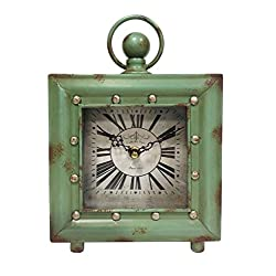 Ashton Sutton Quartz Analog Case Table Clock, 7.5-Inch, Antique Green Finish