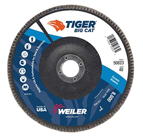 Weiler TIGer Big Cat 7 X 7/8 40 Grit Type 27 Flap Disc, Pack Quantity - 10