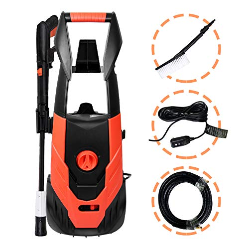 Electric Pressure Washer,1800 PSI 1.8 GPM Washer Cleaner Machine with Hose Reel, Adjustable Spray Nozzle, Extra Turbo Nozzle, Onboard Detergent Tank,Cleaning Brush