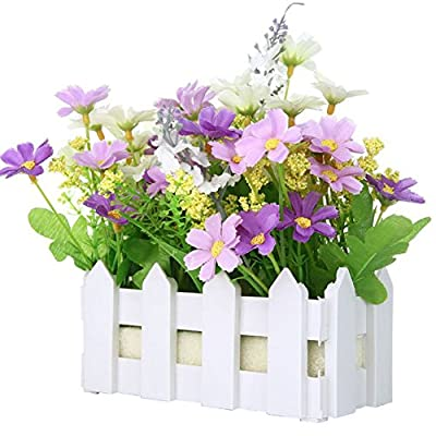 JAROWN Louis Garden Artificial Flowers Small Potted Plant Chrysanthemum In Bonsai Set with MINI Picket Fence DIY