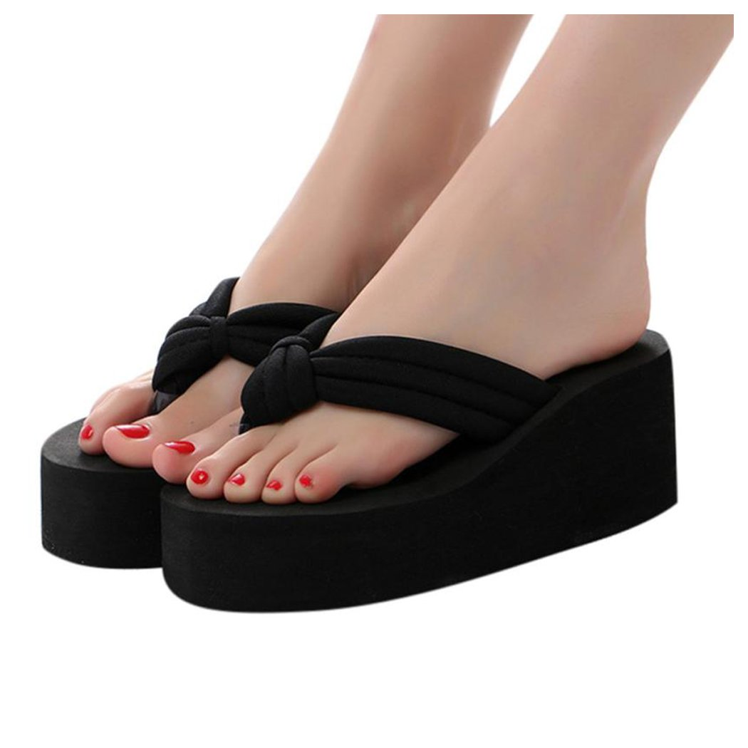 Inkach Womens Flip-Flops ❤️ Fashion Summer Chunky Heeled Wedge Sandals Thong Slippers Beach Platform Shoes (39(US:8.5), Black)