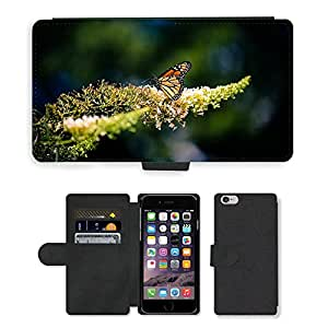 PU Cuir Flip Etui Portefeuille Coque Case Cover véritable Leather Housse Couvrir Couverture Fermeture Magnetique Silicone Support Carte Slots Protection Shell // M00155641 Insecto Mariposa Naturaleza mosca // Apple iPhone 6 4.7""