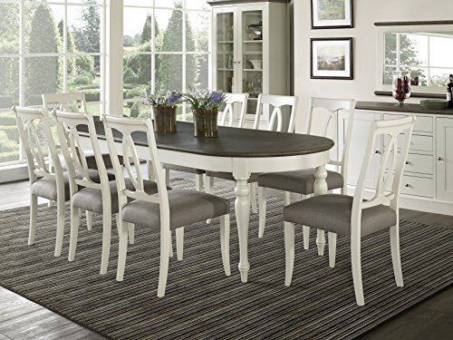 Everhome Designs - Vegas 9 Piece Oval Extension Dining Table Set for 8 (Oval Back Chairs) (Nine Set Piece Dining Room)