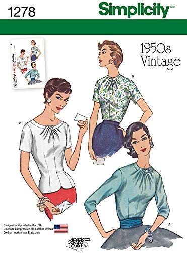 Simplicity Pattern 1278 1950's Vintage Reproduction Misses Blouses Sizes 6-8-10-12-14
