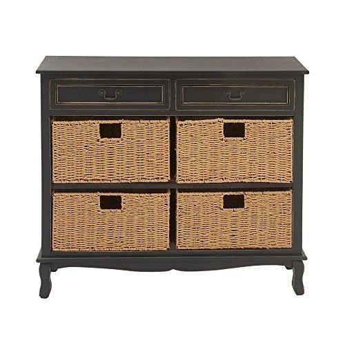 36' Black Vanity - Deco 79 96378 Wood Seagrass Dresser, 40'' x 36'', Black