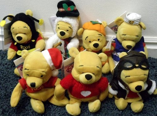 "Disney Winnie the Pooh 8"" Plush Bean Bag Set of 7 Dolls Including Nautical SS Pooh Shipmate, Frosty the Snowman Doll, Pooh as Bumble Bee, Pilot Aviator Pooh, Santa Pooh in Christmas Hat, Halloween Pumpkin Pooh, and Valentine Pooh in Heart Sweater Mint with Tags (Halloween Pumpkin Teddy Bear)"