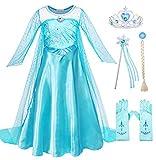 Cotrio Princess Elsa Dress Costume Little Girl Halloween Fancy Dress Up with Accessories