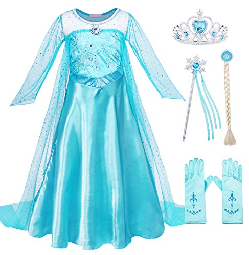 Cotrio Snow Queen Costume Dress Up Girls Elsa Princess Dresses Halloween Cosplay Outfits with Accessories Size 6 (120, 5-6Years, Wig, Gloves, Tiara, Wand) -