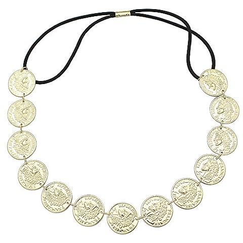 Q&Q Fashion Rare Tribal Gold Coins Gypsy Banjara Kuchi Stretch Chain Hair Crown Head Dress Band (Religious Gold Crowns)