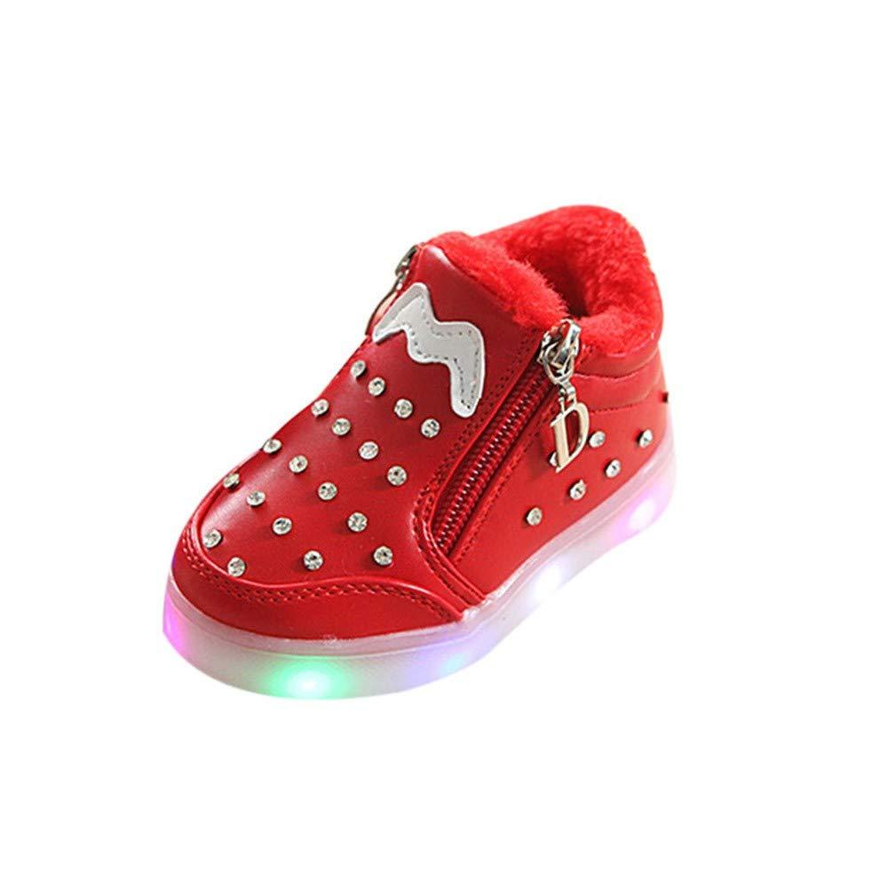 ALIKEEY Niños Niñas Bebé Zip Crystal Llevó Luz Luminosa Deporte Zapatillas Deportivas Zapatillas Deporte Cuna Mes Bautizo Meses Zapato Inferior en otoño