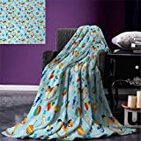 Kids Super Soft Lightweight Blanket Colorful Joyous Composition with Different Children`s Toy Figures in Cartoon Style Oversized Travel Throw Cover Blanket 90''x70'' Multicolor