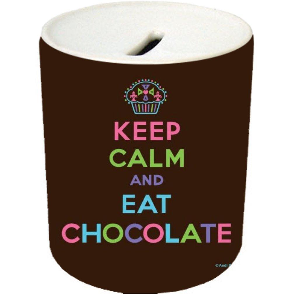 Keep Calm and Eat Chocolate Cupcake Ceramic Coin Saving Bank/Money Jar/Piggybank