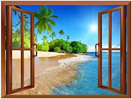 Beautiful Landscape of Palm Tree on The Beach and Clear Sea View from Inside a Window Removable Wall Sticker/Wall Mural - 24