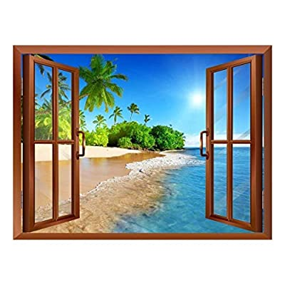 Stunning Artisanship, Quality Artwork, Beautiful Landscape of Palm Tree on The Beach and Clear Sea View from Inside a Window Removable Wall Sticker Wall Mural