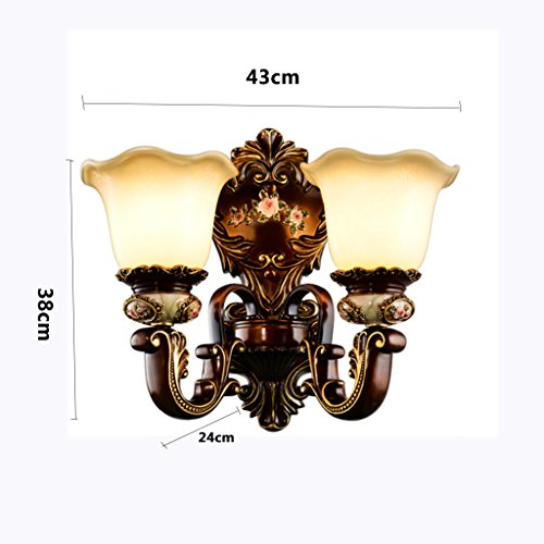 (European Wall Lamp Luxury New Retro Hand Carved Glass E27 Living Room Restaurant Study Bath Corridor Bedroom Single and Double Head MUMUJIN (Color : Double Head))