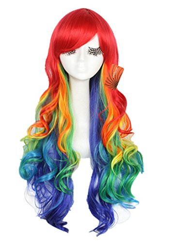 Enilecor Long Rainbow Lolita Women Colorful Party Wigs(ZY72) (Rainbow Clown Costume)