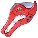 Professional 1 5/8 Inches Ratchet PEX PVC Pipe Tube Cutter Red Steel Construction Hand Tool for Portable Indoor Home Outdoor Applications Construction Building