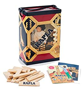 KAPLA 200 Blocks Natural Unfinished Wood Pine Planks with Storage Bin and Guide Book