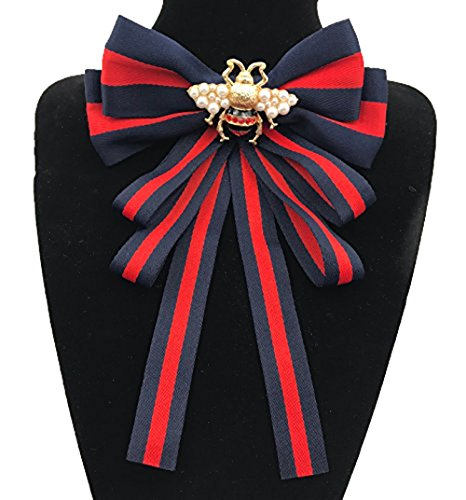 (Rhinestone Crystal ribbon the bees brooches Bow Brooch pre-tied bow tie for women Wedding Party Bow Tiet (Blue))