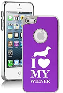 Apple iPhone 5c Aluminum Plated Chrome Hard Back Case Cover I Love My Wiener Dachshund (Purple)
